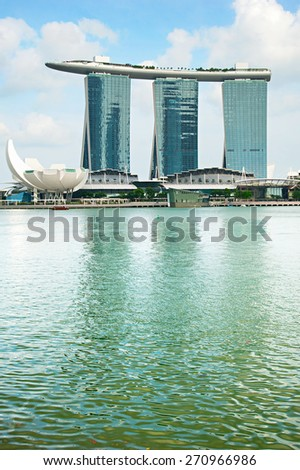 SINGAPORE - MARCH 03, 2013: Marina Bay Sands Resort in Singapore. It is billed as the world's most expensive standalone casino property at S$8 billion - stock photo