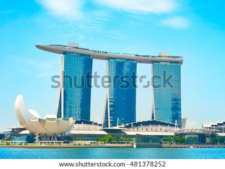 SINGAPORE - MARCH 03, 2011: Marina Bay Sands Resort in Singapore. It is billed as the world's most expensive standalone casino property at S$8 billion