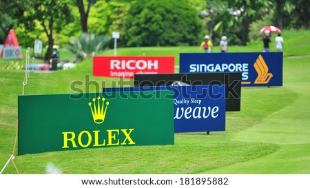 SINGAPORE - MARCH 2: Sponsor boards at HSBC Women's Champions at Sentosa Golf Club Serapong Course March 2, 2014 in Singapore - stock photo