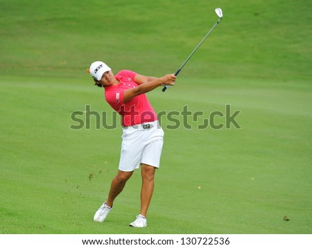 SINGAPORE - MARCH 3: Taiwanese Yani Tseng swinging her club during HSBC Women's Champions at Sentosa Golf Club Serapong Course March 3, 2013 in Singapore