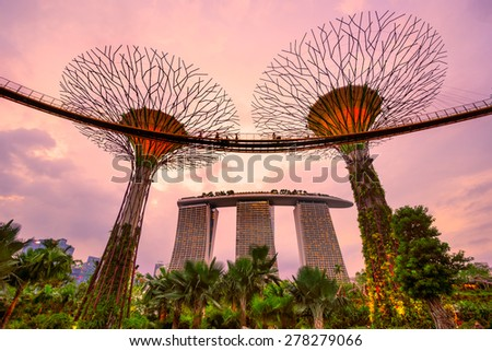 SINGAPORE - MARCH 19: view of The Supertree Grove at Gardens by the Bay on March 19, 2013 in Singapore. Spanning 101 hectares of reclaimed land in central Singapore, adjacent to Marina Reservoir. - stock photo