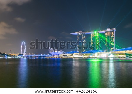 SINGAPORE - March 19, 2016 : Wonder Full laser show and water spectacular at Marina bay,Singapore. - stock photo