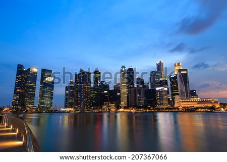 Singapore  marina bay  financial district night - stock photo