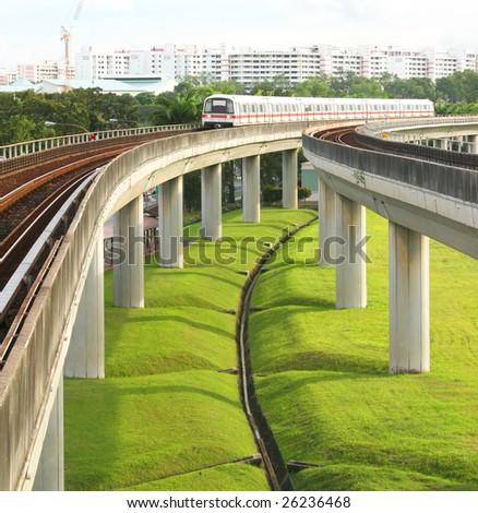 Singapore Mass Rapid Transit MRT Train Travel - stock photo