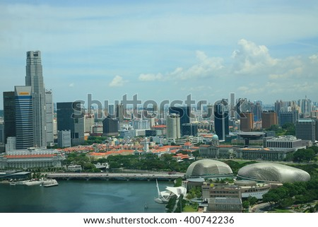 Singapore, May 20 2012:Arial view  landscape of marina bay from Singapore flyer.