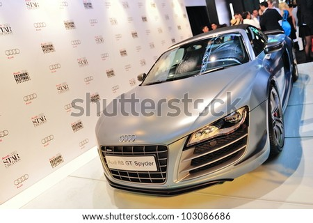 SINGAPORE - MAY 18: Audi R8 GT Spyder on display at Audi Fashion Festival 2012 on May 18, 2012 in Singapore - stock photo