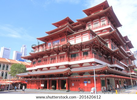 SINGAPORE - 28 May, 2014: Buddha Tooth Relic Temple in Chinatown. Buddha Tooth Relic Temple is a Buddhist temple and museum complex located in Chinatown.
