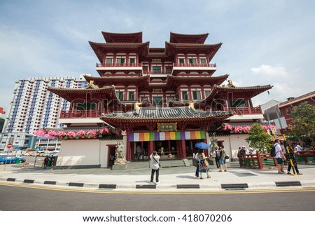 SINGAPORE - MAY 01 : Buddha Tooth Relic Temple & Museum, It's a Tang-styled Chinese Buddhist temple and museum complex located in the Chinatown district of Singapore on May 01, 2016