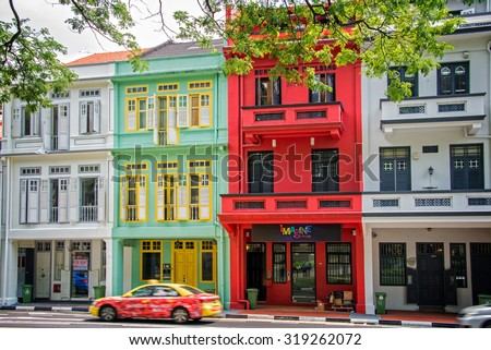 SINGAPORE, MAY 7: Colorful Singapore traditional houses in Chinatown, on May 7, 2015 in Singapore - stock photo