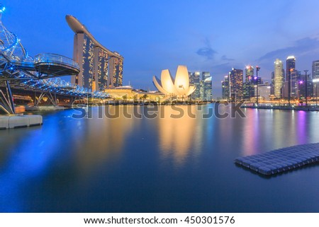 SINGAPORE-MAY 15 : Marina Bay Sands Resort Hotel on May 15, 2016 in Singapore. It is billed as the world's most expensive standalone casino property.