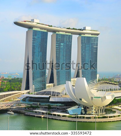 SINGAPORE - MAY 05, 2013: Marina Bay Sands Resort in Singapore. It is billed as the world's most expensive standalone casino property at S$8 billion - stock photo