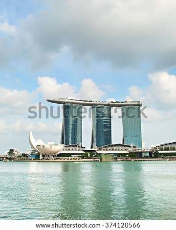 SINGAPORE - MAY 03, 2013 : Marina Bay Sands Resort in Singapore. It is billed as the world's most expensive standalone casino property at S$8 billion  - stock photo