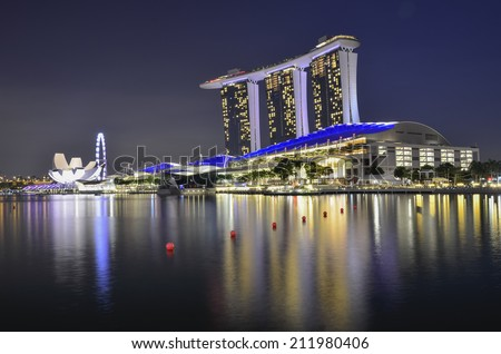 SINGAPORE - MAY 13: Marina Bay Sands, World's most expensive standalone casino property in Singapore at S$8 billion on May 13, 2014 - stock photo