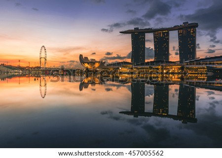 SINGAPORE - MAY 29,2016 : Singapore cityscape at morning.