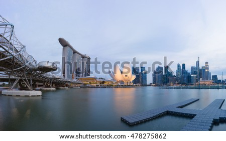 Singapore - May 1, 2016: Singapore skyline cityscape by twilight period at Marina Bay