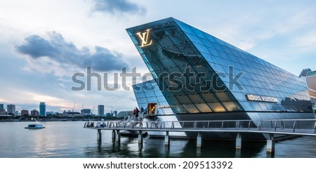 SINGAPORE - May 22: The futuristic building of Louis Vuitton shop in Marina Bay, Singapore on May 22, 2014.