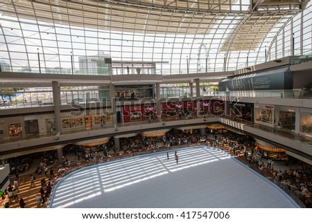 SINGAPORE - MAY 01 : The Shoppes at Marina Bay Sands, It's is one of Singapore's largest luxury shopping malls with a mix of international brands located in Marina Bay Sands Hotel on May 01, 2016