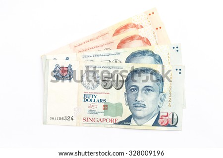 singapore money on white background - stock photo