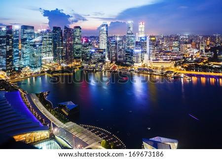 Singapore night - stock photo