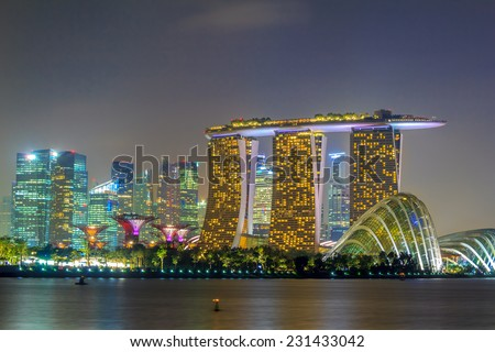 Singapore Night City With Crowded Buildings - stock photo