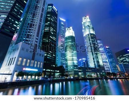 Singapore night with river - stock photo