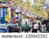 """SINGAPORE - NOV 04 : Colorful Banners were hung in Little India to celebrate the Indian festival - Deepavali, popularly known as the """"festival of lights"""" on Nov 04, 2012 in Singapore. - stock photo"""