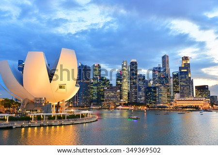 SINGAPORE-NOV 17: Landscape of the Singapore skyline on November 17, 2015. View of Marina Bay financial district and business building - stock photo
