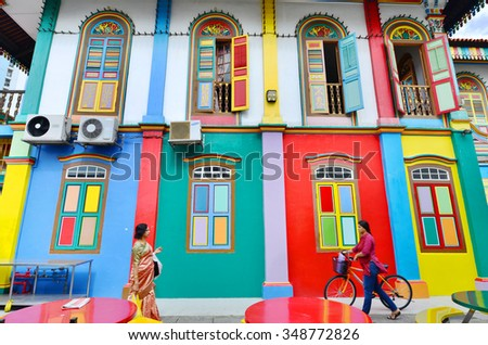 SINGAPORE - NOV 17: Little India district on November 17, 2015 in Singapore. Little India is Singaporean neighborhood east of the Singapore River - stock photo