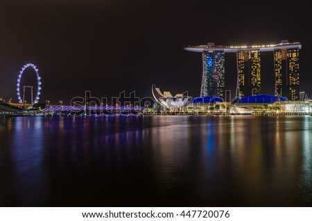 Singapore - Nov 6 : Marina Bay Sands and Art Science Museum at Night Singapore on Nov 6, 2015.