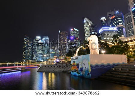 SINGAPORE-NOV 17, 2015: â??Under renovationâ?The Merlion fountain in Singapore. Merlion is a imaginary creature with the head of a lion,seen as a symbol of Singapore - stock photo
