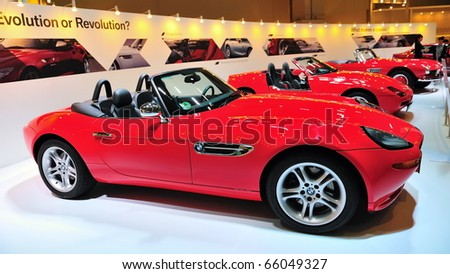 SINGAPORE - NOVEMBER 14: Classic BMW Z8, Z1 and 507 convertible at BMW World Singapore 2010 at Marina Bay Sands Expo November 14, 2010 in Singapore - stock photo
