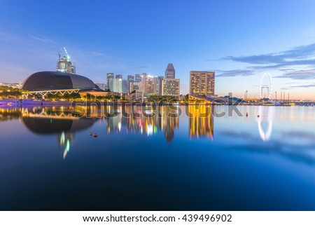 SINGAPORE - NOVEMBER 7, 2014: Esplanade - Theatres on the Bay is a performance and art center located in Marina Bay. It is nicknamed the Durian by the Singaporeans because of its spikey appearance. - stock photo