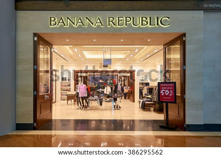 SINGAPORE - NOVEMBER 08, 2015: interior of Banana Republic. Banana Republic is an American clothing and accessories retailer owned by American multinational corporation, Gap Inc.