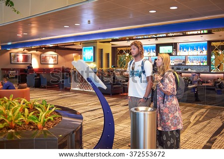 SINGAPORE - NOVEMBER 03, 2015: interior of Changi Airport. Singapore Changi Airport, is the primary civilian airport for Singapore, and one of the largest transportation hubs in Southeast Asia - stock photo