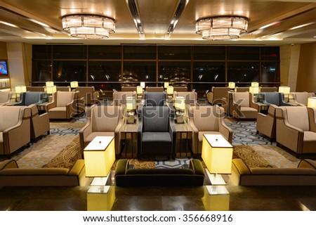 SINGAPORE - NOVEMBER 09, 2015: interior of Plaza Premium Lounge. Plaza Premium Lounge is a global service brand headquartered in Hong Kong - stock photo