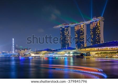SINGAPORE - November 13: Marina Bay Sands Resort at night on November 13, 2015 in Singapore. - stock photo