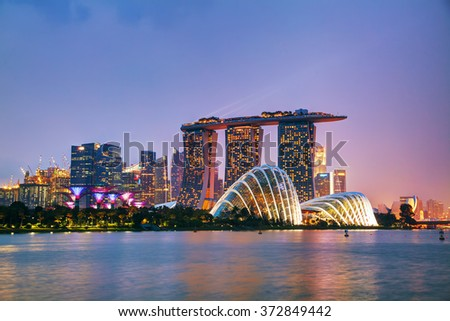 SINGAPORE - NOVEMBER 07: Overview of the marina bay with Marina Bay Sands on November 07, 2015 in Singapore. - stock photo