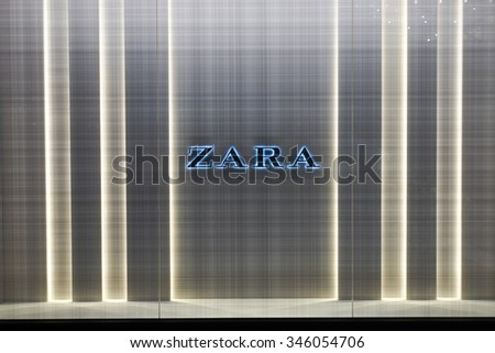 SINGAPORE - NOVEMBER 08, 2015: shopwindow of Zara store. Zara is a Spanish clothing and accessories retailer based in Arteixo, Galicia, and founded in 1975 by Amancio Ortega and Rosali­a Mera