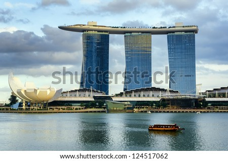 SINGAPORE - NOVEMBER 1: View of skyscrapers in Marina Bay on November 1, 2012 in Singapore. Singapore is the world's fourth leading financial centre.