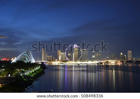 SINGAPORE - OCT 16, 2016: Modern buildings of Singapore skyline landscape in business district
