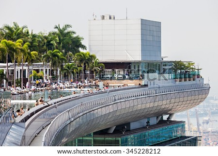 SINGAPORE - OCTOBER 18, 2014: A view of the Infinity Pool of the Skypark that tops the Marina Bay Sands Hotel. - stock photo