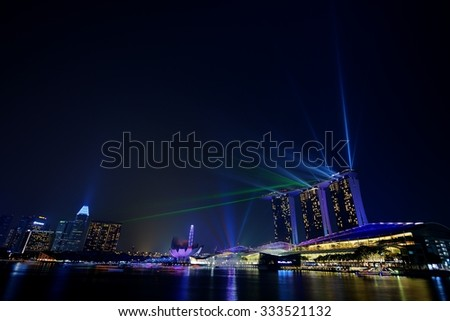 SINGAPORE - OCTOBER 24, 2015: Marina Bay Sands is an integrated resort fronting Marina Bay in Singapore. It is the world's most expensive building, at US$ 4.7billion, including