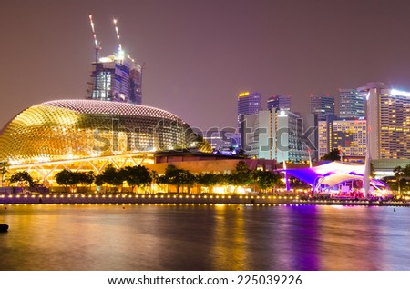 SINGAPORE - OCTOBER - 10: The Esplanade Convention Centre at Marina Bay october 10, 2014 in Singapore. - stock photo