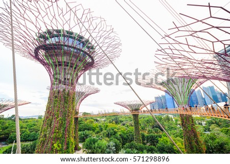 Garden By The Bay Mrt singaporeaug 5 day view supertree grove stock photo 110340785