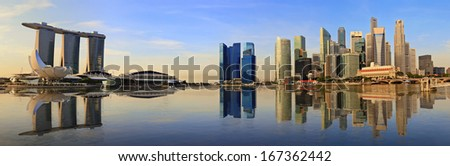 Singapore panorama skyline and view of Marina Bay - stock photo