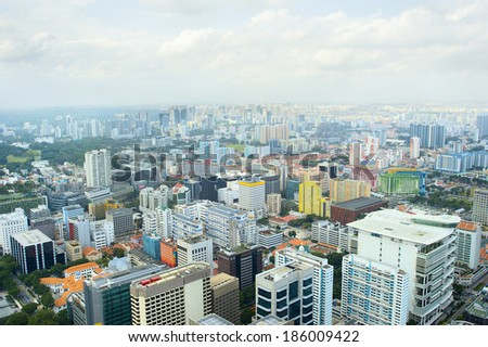 Singapore residential and industrial quarter, aerial view   - stock photo