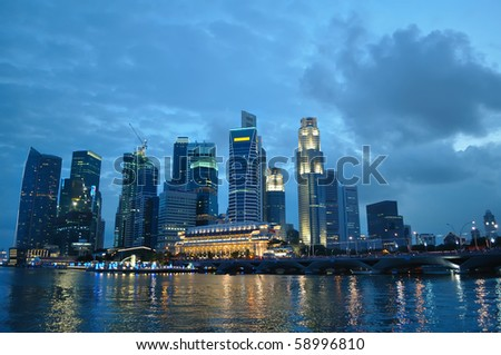 Singapore river at blue hour