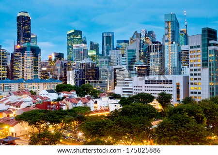 Singapore's CBD over Chinatown - stock photo