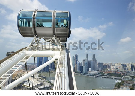Singapore seen from the Singapore Flyer - stock photo