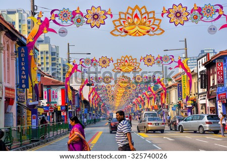 SINGAPORE - SEPTEMBER 23, 2015: Day view of Deepavali decorations in Little India, Singapore. Deepavali, popularly known as the festival of lights. - stock photo